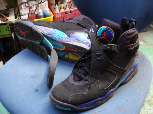 ヨーロピアンなロングノーズ紳士革靴 かかとゴム交換とハーフソール補強サムネイル