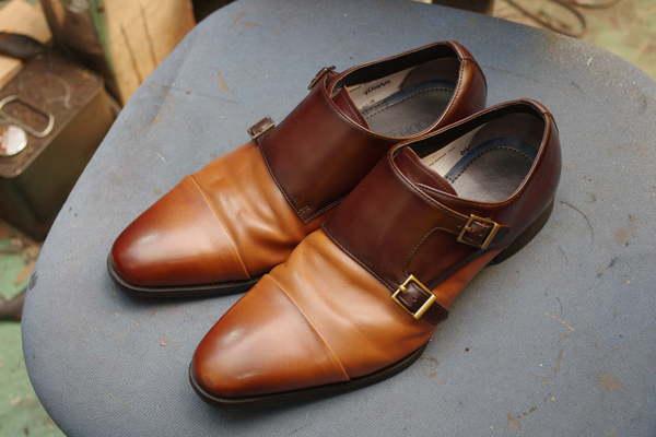つま先傷隠し 3000円+消費税 紳士革靴 ダブルモンクストラップシューズ サムネイル